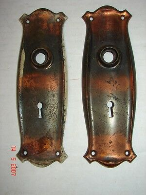 2 Matching Art Deco Metal Door Plate Key Hole Covers