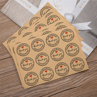 120Pcs Thank You Brown Kraft Label Paper Stickers Party Gift Packaging Tag Decor