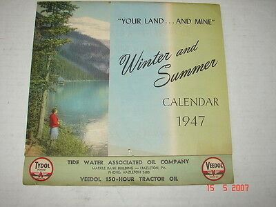 1947 Calendar TIDE WATER Associated Oil Co., Hazleton, Pa - TYDOL VEEDOL