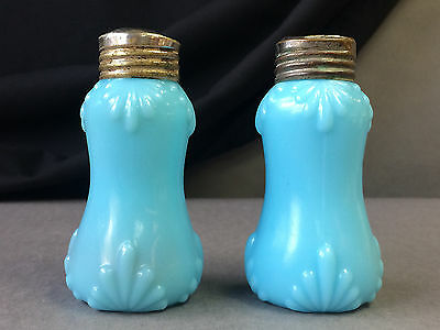 Pair Victorian Dithridge Salt Pepper Shakers Blue Double Fan Band VERY SCARCE