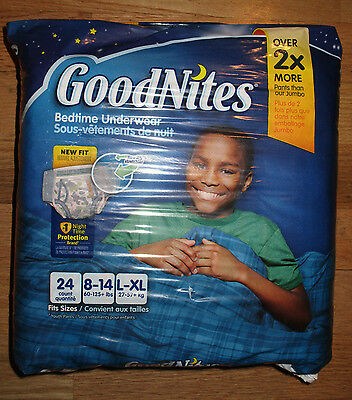 NEW GoodNites Boys Bedtime Underwear 24 count L-XL 60-125+ lbs SHIPS OUT FAST!!