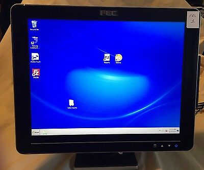 "FEC AM-1015 POS 15"" touch screen display w/stand and all cords Point of Sale #1"