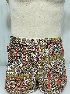 Mens 1950s Catalina California Handprint Rockabilly Swim Trunks Front Pocket 36