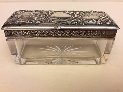Antique American Sterling Silver/Crystal Cut Glass Jewelry Box c. 1920,marked