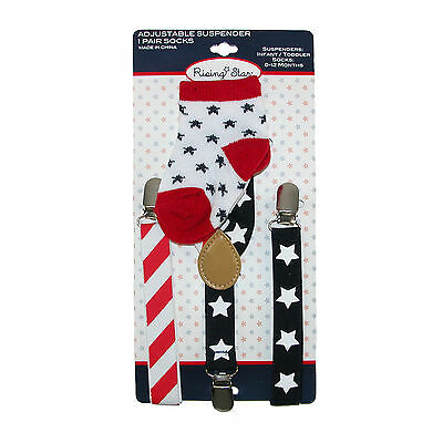 New ABG Accessories Infant's Stars and Stripes Suspender and Sock Set
