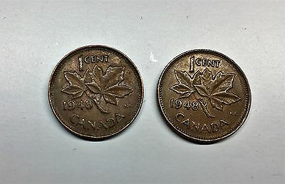 1948 Canada Cents, On Denticle & Off Denticle (2 Coins)