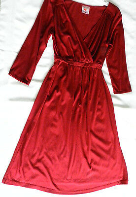 Two Hearts Maternity Nursing Friendly Red 3/4 Sleeve Knee-Length Dress Size S