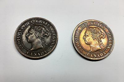 Canadian Large Cents Pair;  1900 And 1900 H, Good Quality Coins