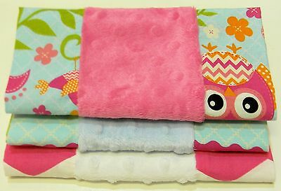 3 Handmade Burp Cloths for girls, 100% cotton with minky chenille fabric