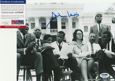 John Lewis Selma March W/ Martin Luther King Signed 8X10 Photo Psa/dna Coa A