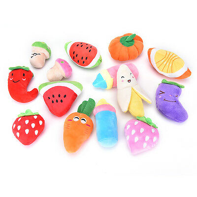 Dog Toys Pet Puppy Chew Squeaker Squeaky Plush Sound Cute Fruit & Vegetable ff