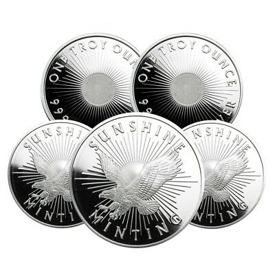 Lot of 5 - 1 oz Sunshine Mint Silver Round .999 Fine