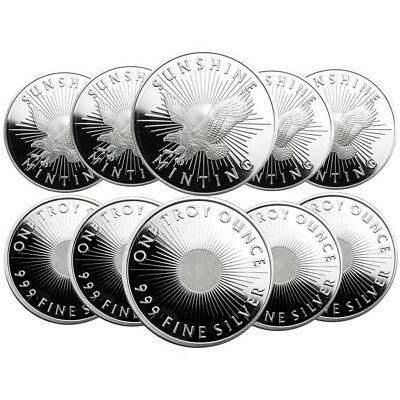 Lot of 10 - 1 oz Sunshine Mint Silver Round .999 Fine