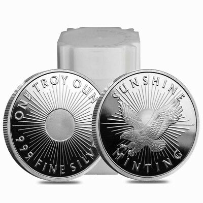 Roll of 20 - 1 oz Sunshine Mint Silver Round .999 Fine (Lot, Tube of 20)