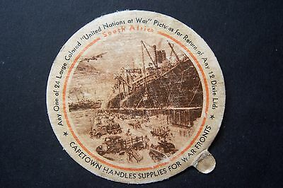 Dixie Cup Lid UNITED NATIONS AT WAR South Africa, Cape town, SEALTEST Ice Cream