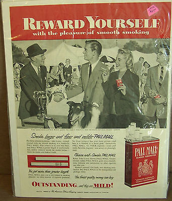 Vintage Print ad Pall Mall Cigarettes Dog Show Collie