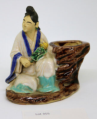 Antique Chinese Mudman Statue with Vase Hand Painted 355