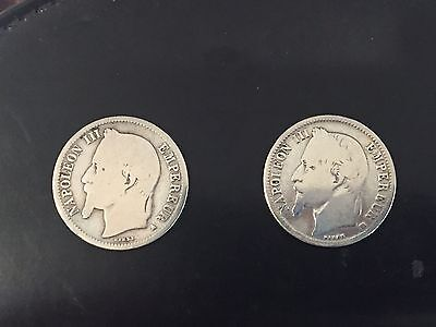 FRANCE 1866/1868 NAPOLEON III SILVER FRANC. Lot of 2 Coins