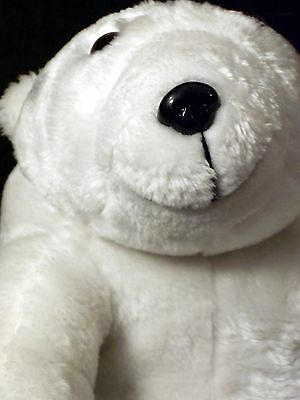 "LARGE FAT WHITE POLAR BEAR 13"" Stuff Plush Arctic Wild Animal"