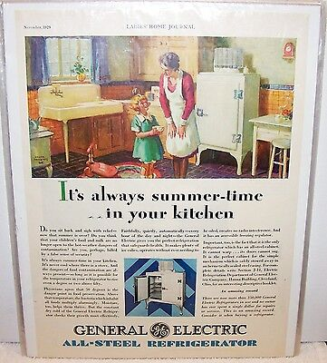 Vintage ad 1929 General Electric GE All steel refrigerator Monitor top