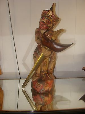 WOODEN STATUE of HANUMAN, THE MONKEY GOD, WITH STRAIGHT KRIS and SCABBARD