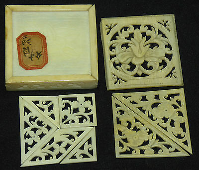 Antique 19th Century Chinese Carved Bovine Bone 7 Piece Tangram Puzzle Box