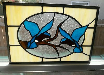 "12"" x 18"" BLUE BIRDS of HAPPINESS Wraught Iron Stained Glass Window Panel"