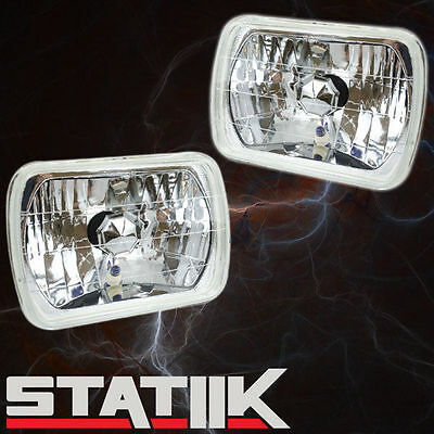 """2 Piece 7"""" Rectangle H4 Crystal Sealed Beam Conversion Headlights Lamps"""