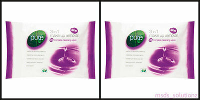 60 PURE Make Up Removal 3 in 1 Cleansing Tonning Facial Wipes with Aloe Vera