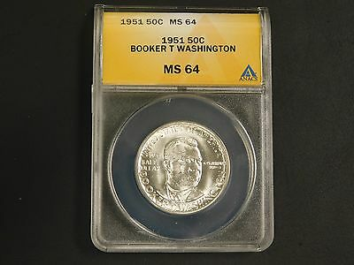 1951 Booker T Washington Silver Half Dollar, ANACS-MS64!