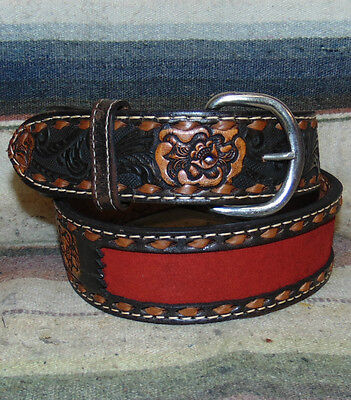 Vintage Buckstitch Wright Sheridan Tooled Brown Red Leather Western Belt 30 New