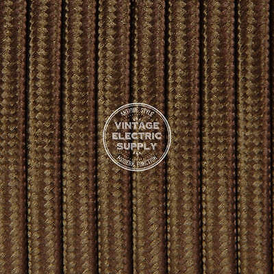 Brown Parallel (Flat) Cloth Covered Wire - Antique Lamp Cord - UL Listed