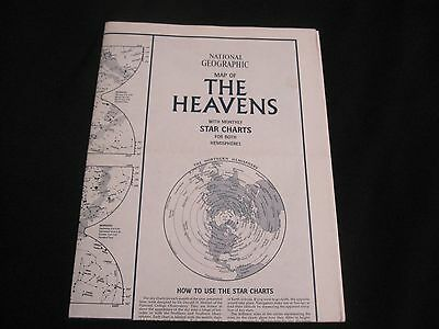 """National Geographic MAP OF """"THE HEAVENS"""" 23"""" x 35"""" Paper Poster, 1970"""