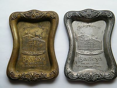 "2 Vtg Pin Trays ""Bailey's ~ The Big Store"" Cleveland, Ohio ~ Brass & Silver tone"