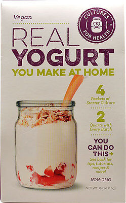Vegan Yogurt Starter Culture - 4 Packets - Cultures For Health Makes 8 Pints