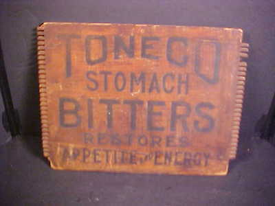 RARE Antique Toneco Stomach Bitters Wooden Box Panel - Shipping Crate