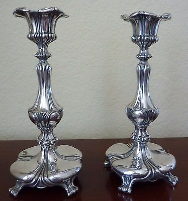 Art Nouveau Antique Silverplate Candlestick Pair Pairpoint Candle Holders 1890