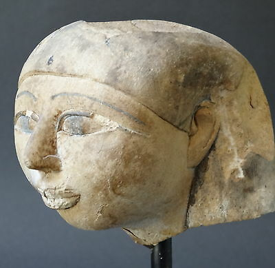 ▇Egyptian Woman' Head Of The Nobility With The Khat In Limestone-Old Kingdom-8Cm