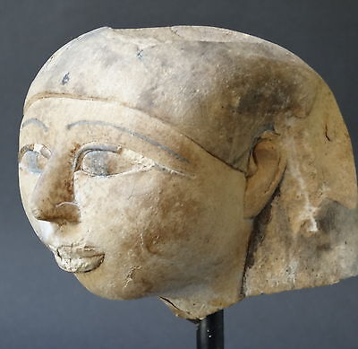 ▇Egyptian Womans Head Of The Nobility With The Khat In Limestone-Old Kingdom-8Cm