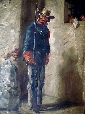 ▇ OIL ON PANEL PAINTING of  American Sentinel CSA  CIVIL WAR 19TH CENTURY