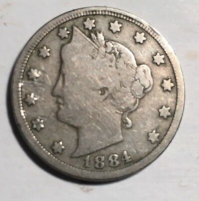 "1884 Liberty ""v"" Nickel, Vg,   Flat Rate Shipping!"