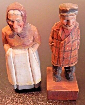 Vintage Anri Hand Painted Carved Man and Women Figurine