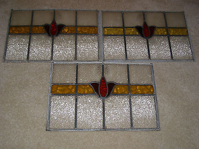 Antique Tulip Stained Glass Windows - Lot Qty. 3