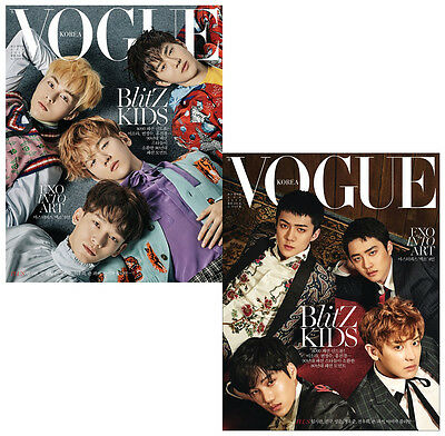 EXO Vogue Korea Magazines A+B Type April 2017 EXO All members Magazine +Bromide
