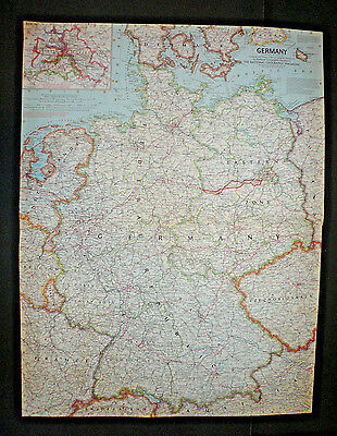 "VINTAGE GERMANY AND ITS APPROACHES 25""x19"" MAP National Geographic July 1959"