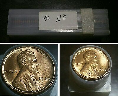 Roll of 1935 P Lincoln Head Wheat Cents 50 Pennies Uncirculated Coins