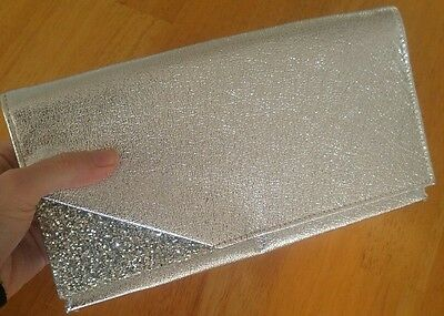 Vintage 1950s silver leather with sparkly glitter accent clutch purse bag