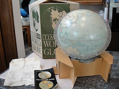 """Nib 1965 Time Life Lighted 12"""" World Globe 2 Globes In One Political & Relief"""