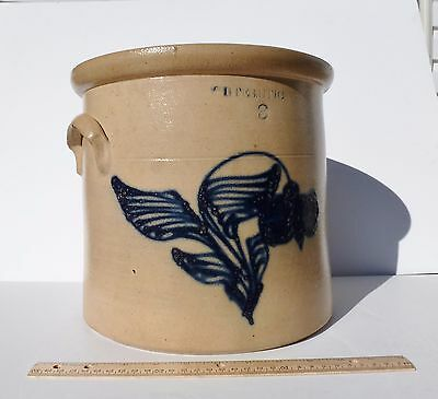Whites Utica Cobalt Floral Decoration 3 GAL Antique Stoneware Crock NEAR MINT