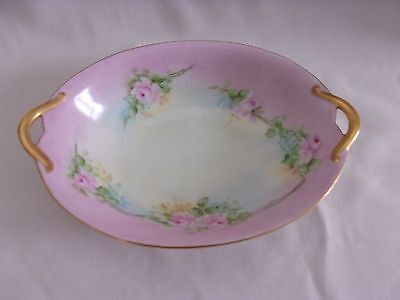 Hand Painted Ornate Gold Trim Pink Roses Artist Signed Handled Oval Bowl